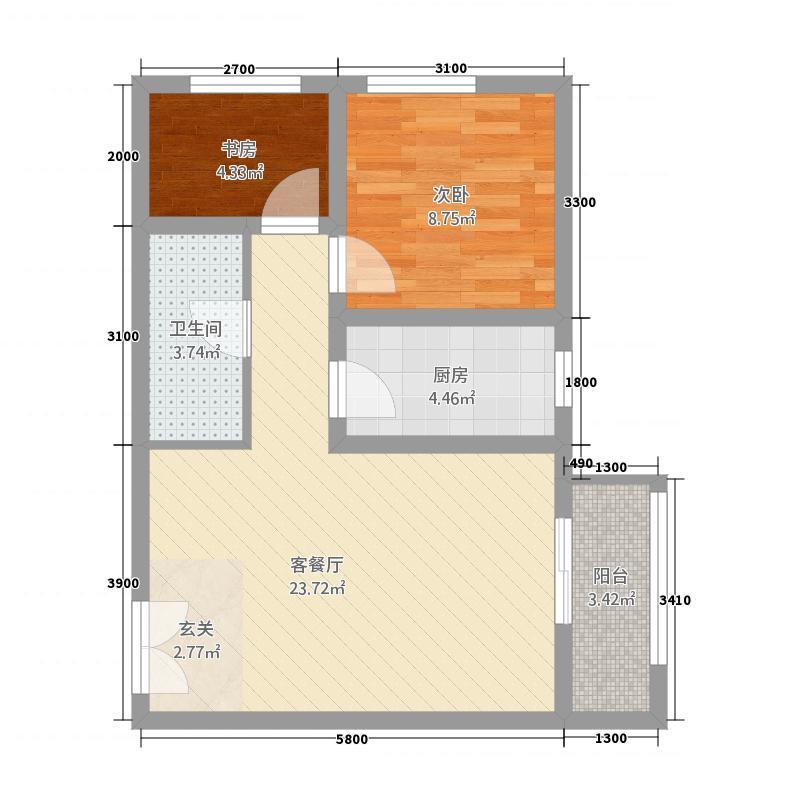 坤杰・拉菲公馆5171.34㎡5#1单元012室户型2室2厅1卫1厨