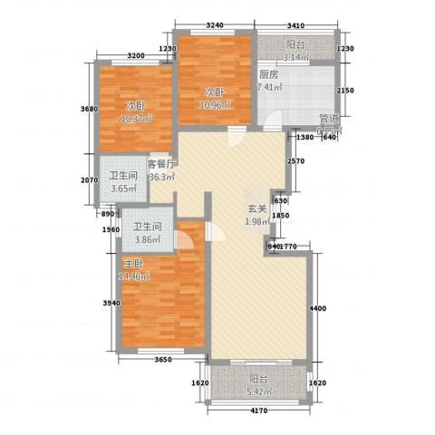 华源上海城三期3室1厅2卫1厨137.00㎡户型图