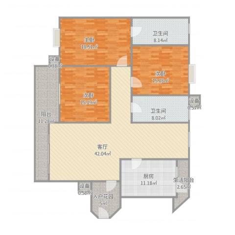 爱加西西里3室1厅2卫1厨186.00㎡户型图