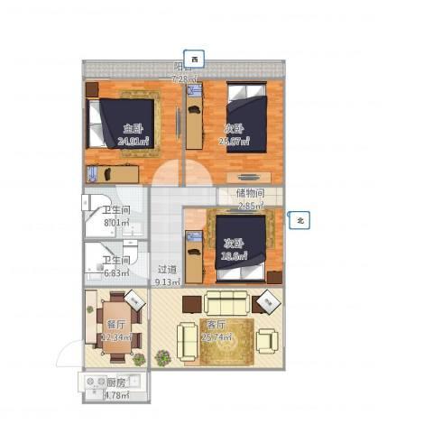 安翔里3室2厅2卫1厨195.00㎡户型图