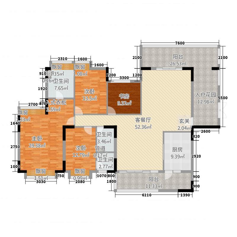 东方明珠521.61㎡5座偶数层01标准户户型4室2厅3卫