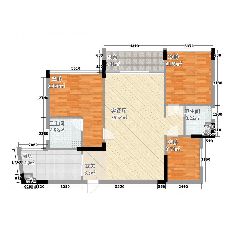翡翠明珠121.62㎡一期A1/A2座02单位户型3室2厅2卫1厨