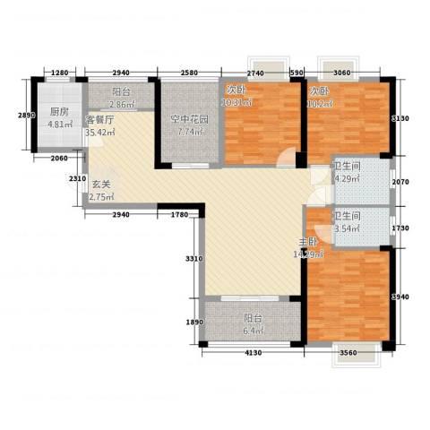 康湾一品3室1厅2卫1厨4131.00㎡户型图