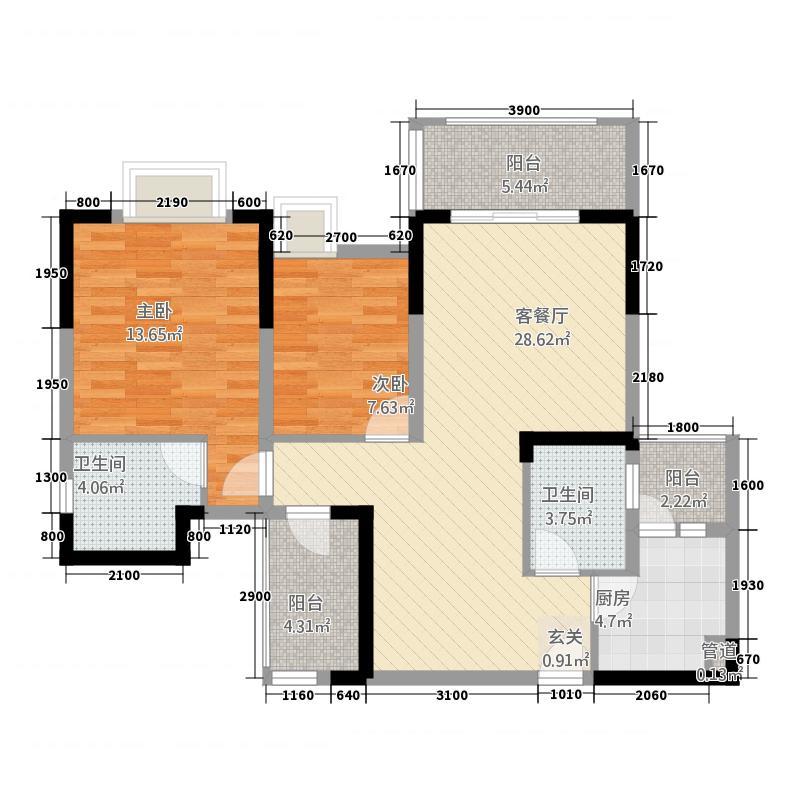 观澜国际1.62㎡二号楼标准层D1户型3室2厅2卫1厨
