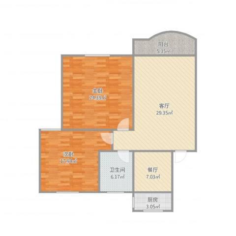 新金山花园2室2厅1卫1厨124.00㎡户型图
