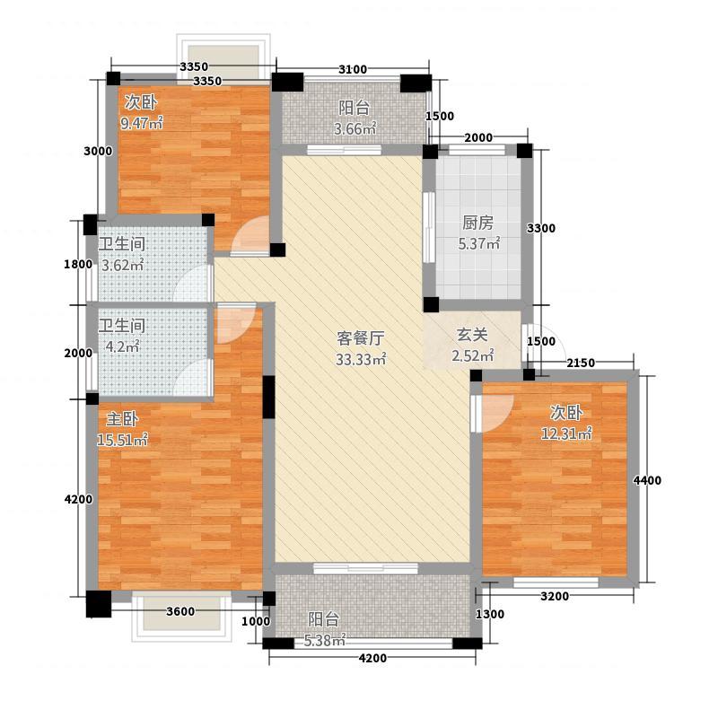 紫悦城23115.61㎡2#楼C户型3室2厅2卫1厨