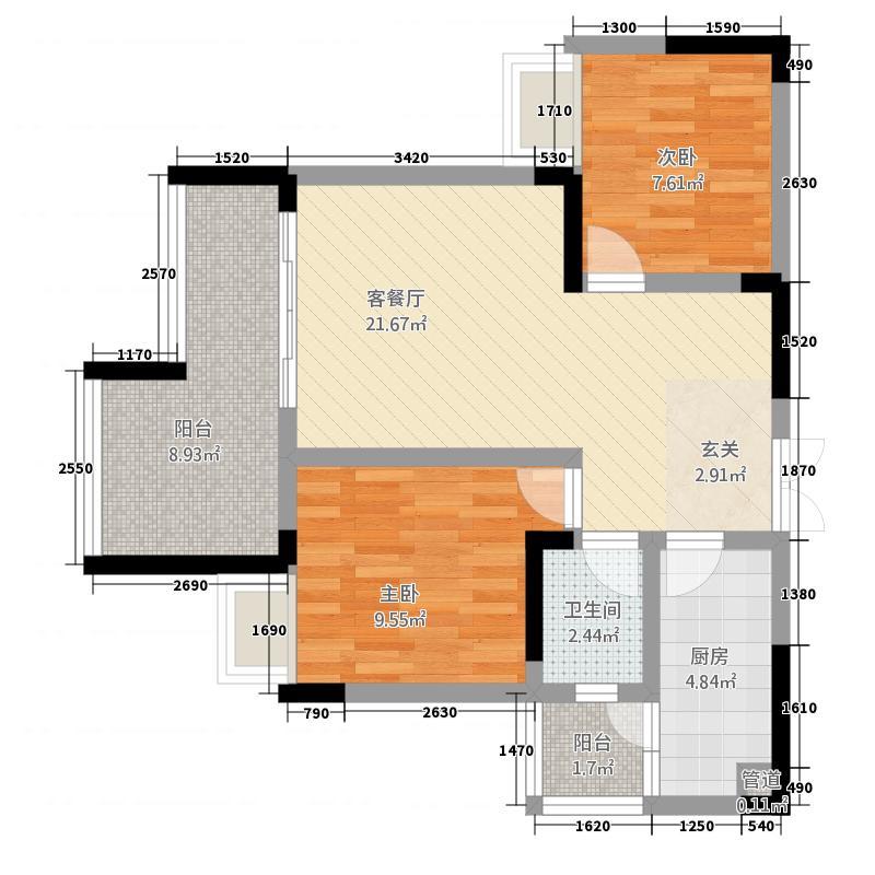 昌龙阳光尚城477.53㎡一期4幢标准层4-2户型2室2厅1卫1厨