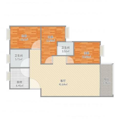 天一新村3室1厅2卫1厨130.00㎡户型图