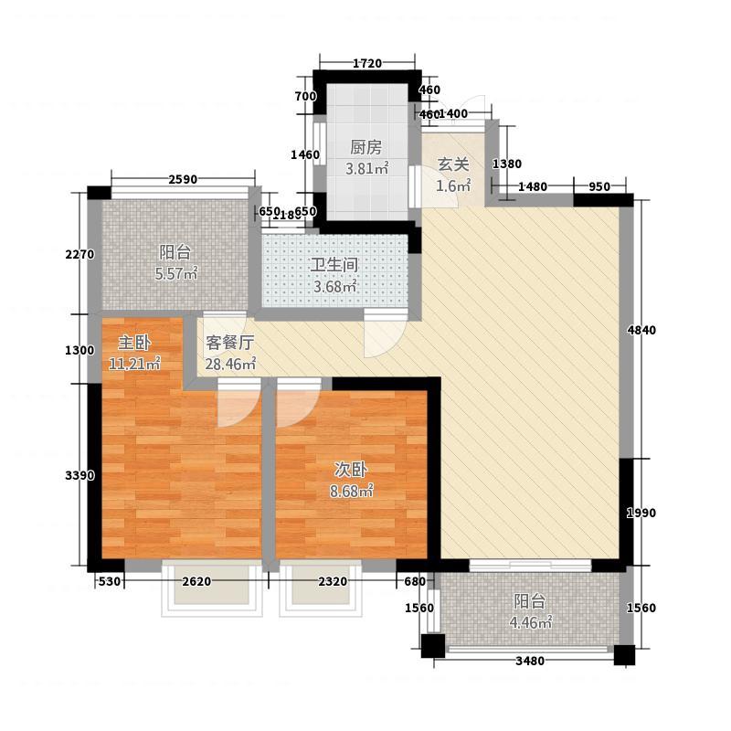 霍邱御龙湾26.42㎡B2户型3室2厅1卫1厨