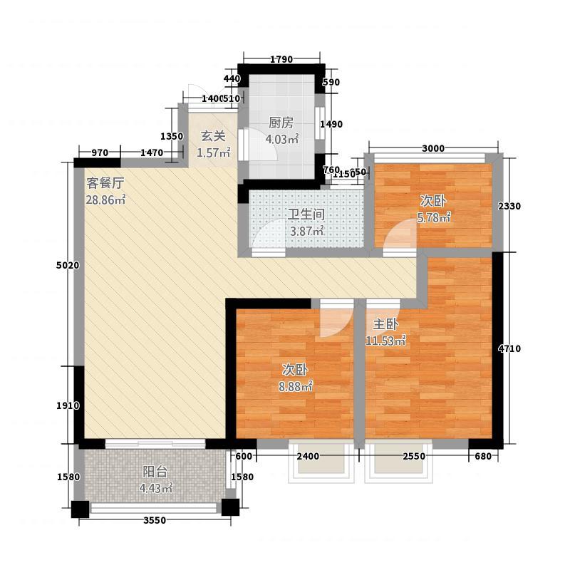 霍邱御龙湾3.22㎡B3户型3室2厅1卫1厨