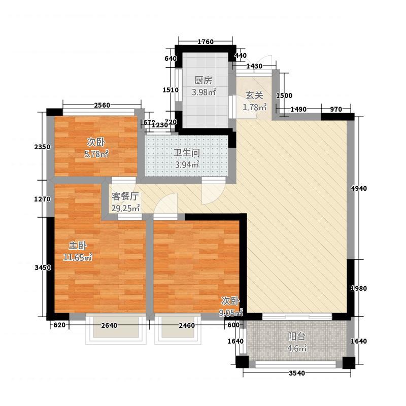 霍邱御龙湾2.71㎡B2户型3室2厅1卫1厨