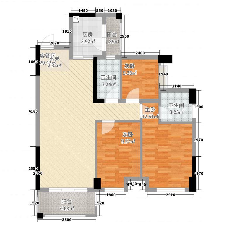 广海新城68.42㎡一期6座标准层03户型3室2厅2卫1厨