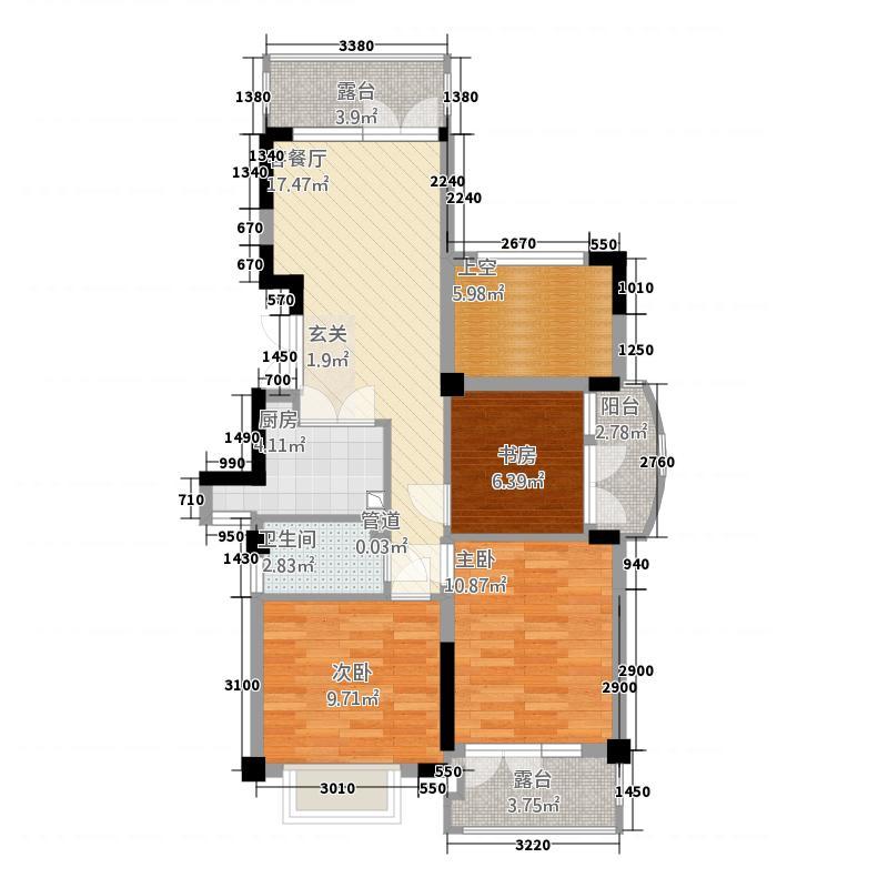 罗兰领墅3.20㎡户型3室2厅1卫1厨