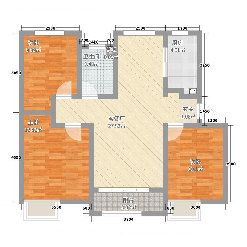 中海・华山珑城1.20㎡一期A区1-31#号楼标准层C户型3室2厅1卫1厨