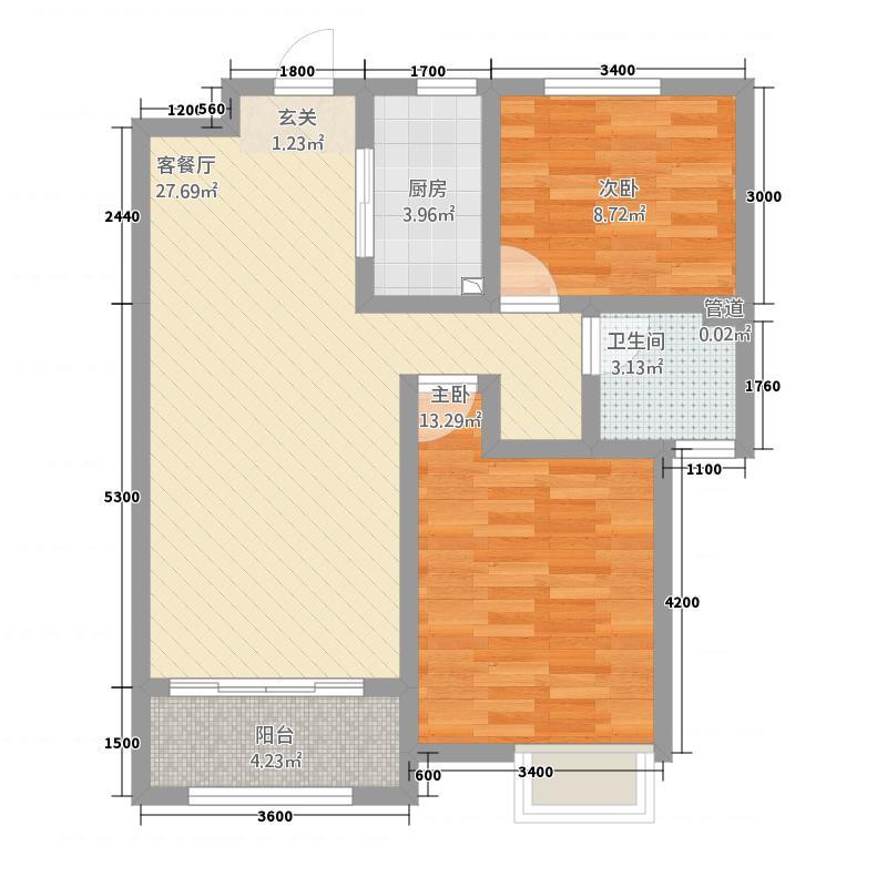 中海・华山珑城2.20㎡一期A区标准层B户型2室2厅1卫1厨