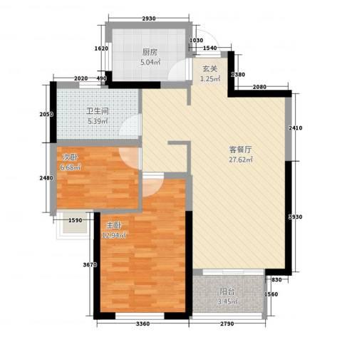 高成上海假日2室1厅1卫1厨87.00㎡户型图