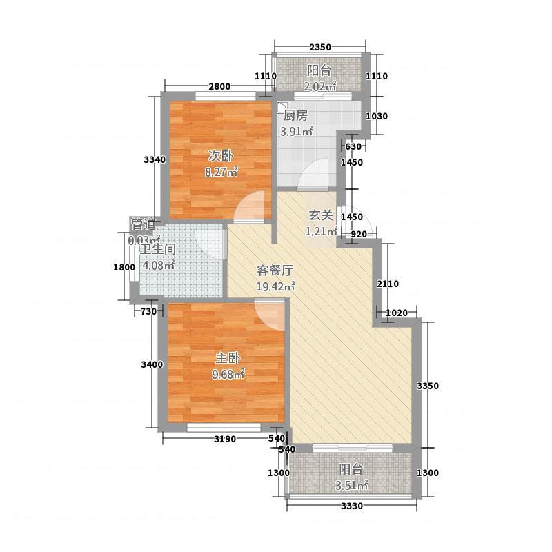 湖光豪景1267.75㎡C1户型2室2厅1卫1厨