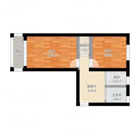 朝晖八区2室1厅1卫1厨65.00㎡户型图