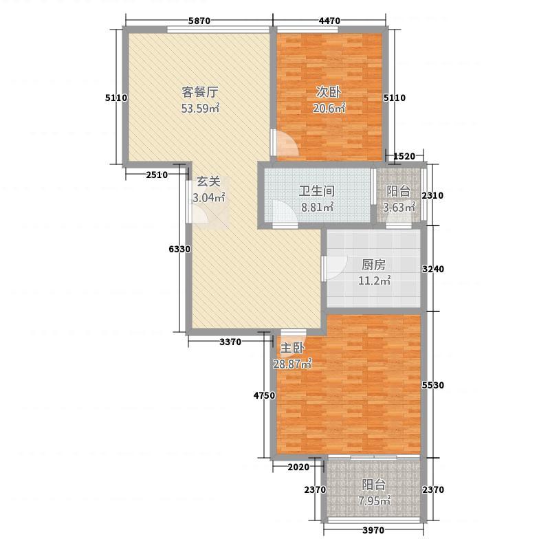 国金华府187.20㎡10号楼D户型2室2厅1卫1厨