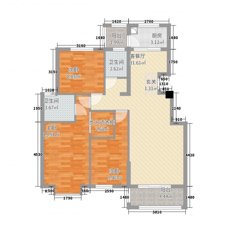 嘉和城22311.88㎡C2-2户型3室2厅2卫1厨