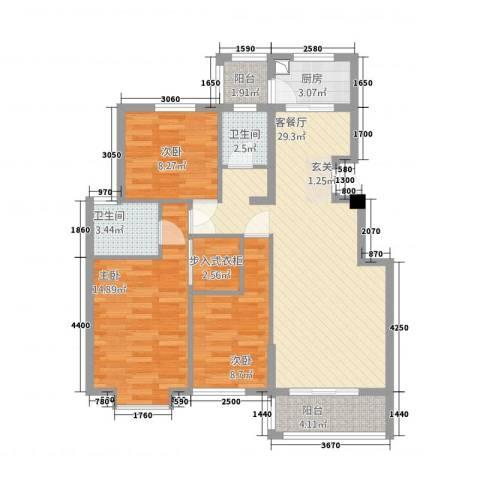嘉和城3室1厅2卫1厨213112.00㎡户型图