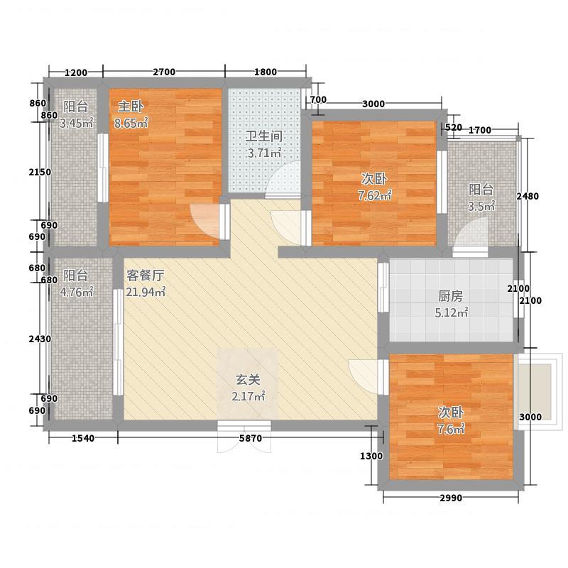 欧香小镇3283.18㎡A户型3室2厅1卫1厨
