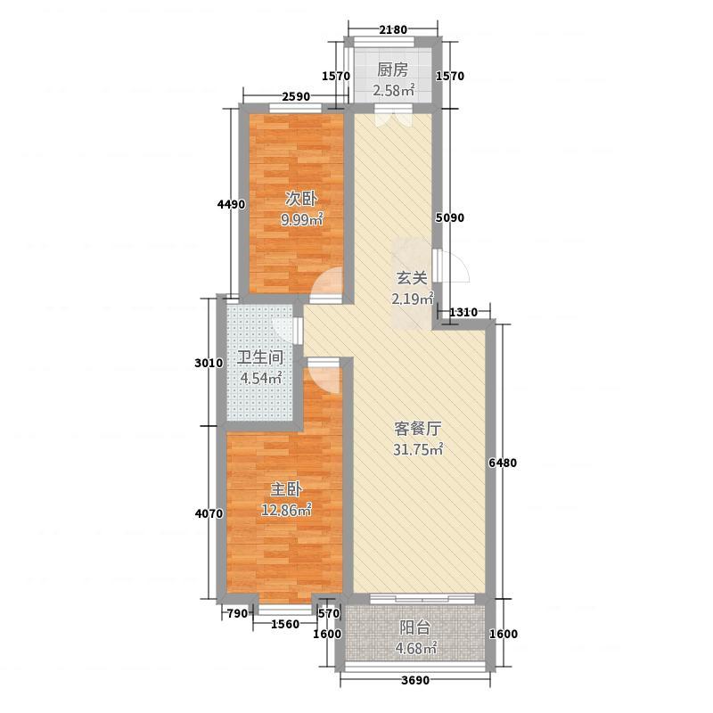 海盛在水一方H库・9644户型2室2厅1卫
