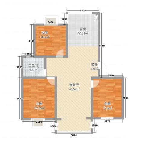 万方水岸3室1厅1卫0厨125.00㎡户型图