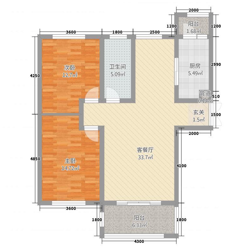 玫瑰湾二期・珑岸118.62㎡墅景高层B01/户型2室2厅1卫