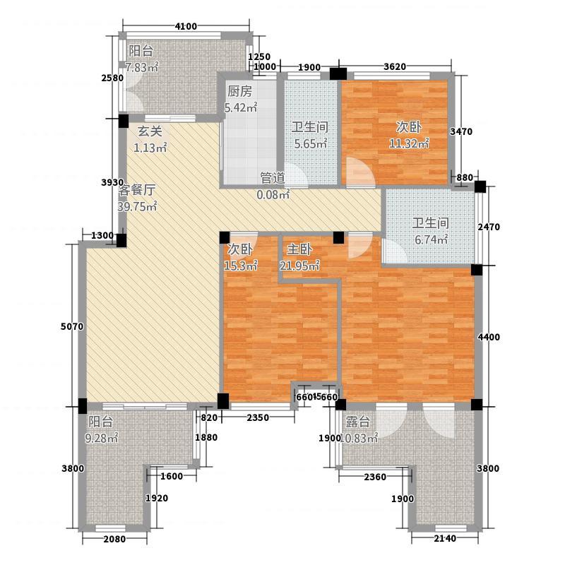 金城华府3143.20㎡花园洋房H3d户型3室2厅2卫1厨