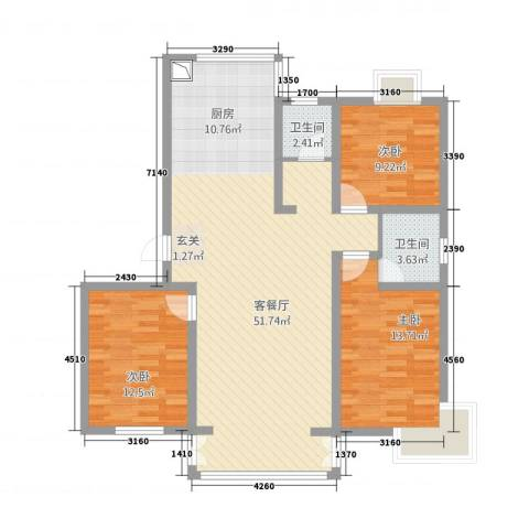 万方水岸3室1厅2卫0厨132.00㎡户型图