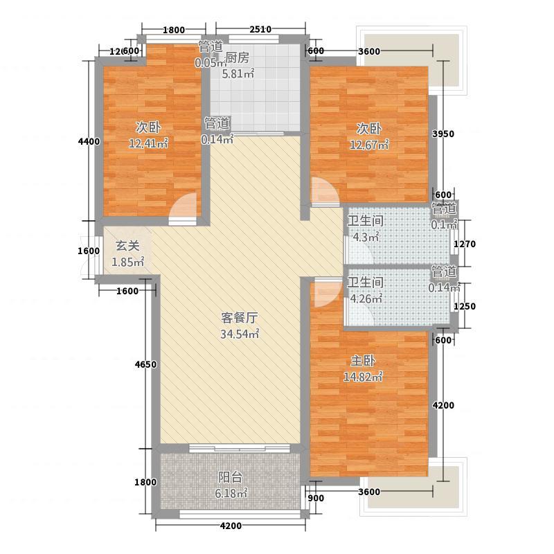 盛唐至尊13136.20㎡一期13号楼G户型3室2厅2卫1厨