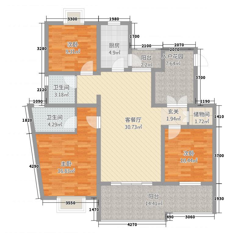 领域・阳光花园户型4室2厅2卫1厨