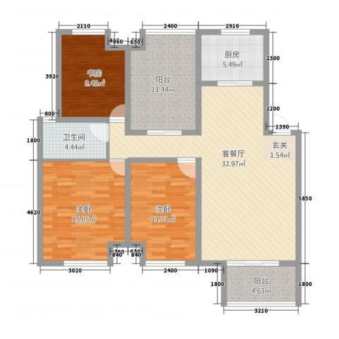 天湖丽景湾3室1厅1卫1厨2141.00㎡户型图