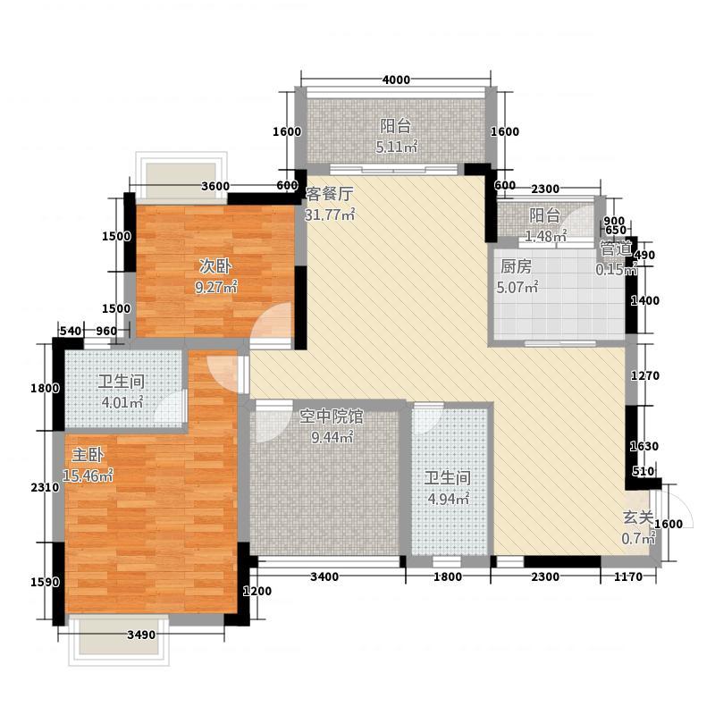 中交康桥6113.42㎡一期6号楼标准层C6户型2室2厅2卫1厨