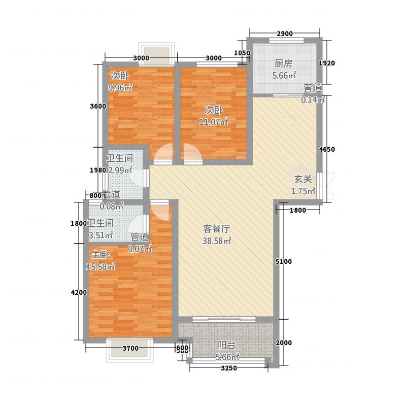 盛唐至尊13136.20㎡一期13号楼D户型3室2厅2卫1厨