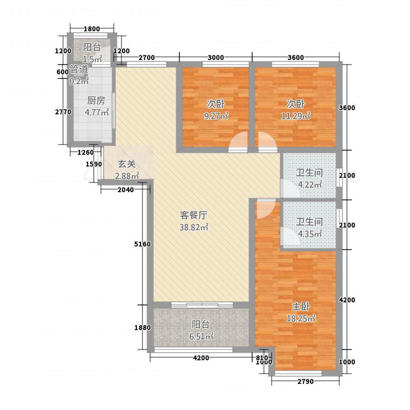 玫瑰湾二期・珑岸143.52㎡墅景高层B01/户型3室2厅2卫1厨