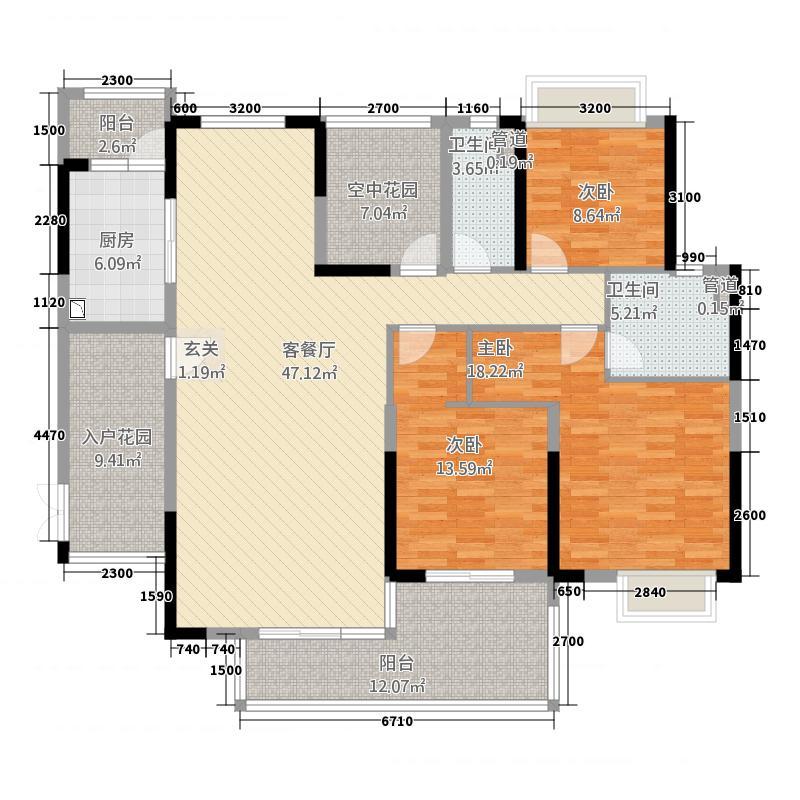 乐从钜隆风度广场1155.52㎡1座02户型4室2厅2卫1厨