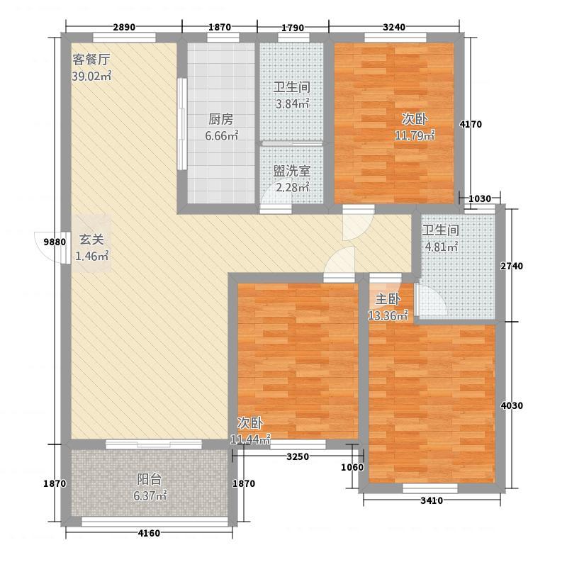 上海公馆53143.52㎡5#C户型3室3厅2卫2厨