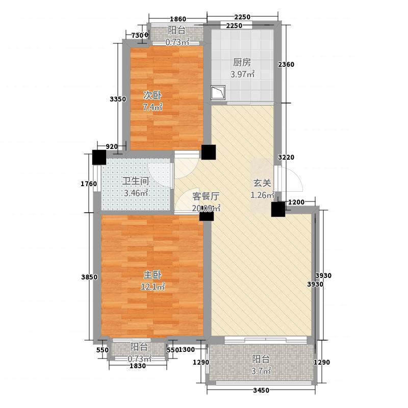莱州黄金海岸75.20㎡75A-户型2室2厅1卫