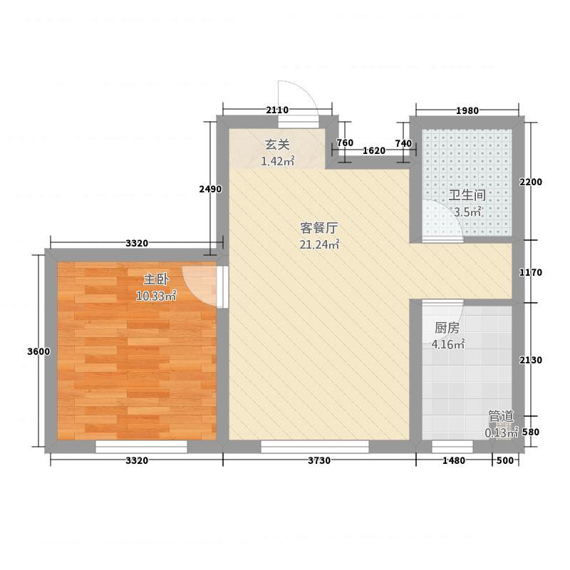 多恩海棠湾56.52㎡三期海棠湾组团H户型1室2厅1卫1厨