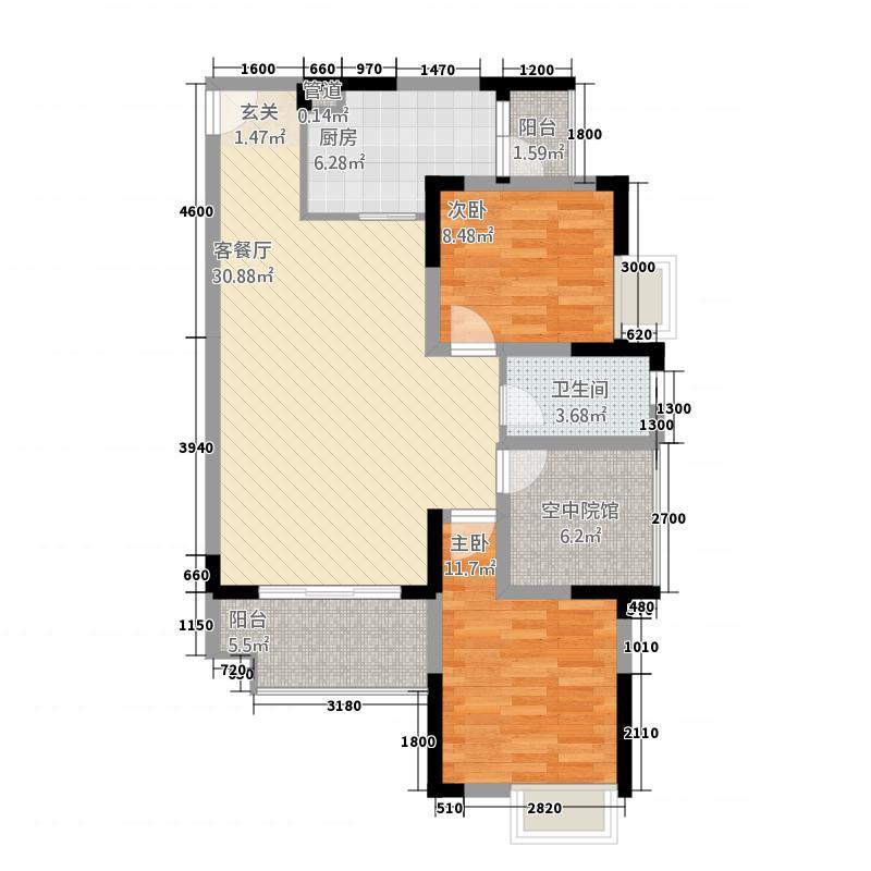 中交康桥67.62㎡一期6号楼标准层C4户型2室2厅1卫1厨
