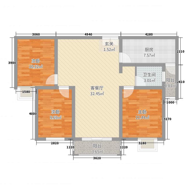 豫龙之春2115.52㎡一期B-2户型3室2厅1卫1厨