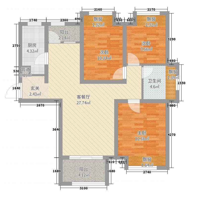高迪墨香郡1517.20㎡1号楼至5号楼E户型3室2厅1卫1厨