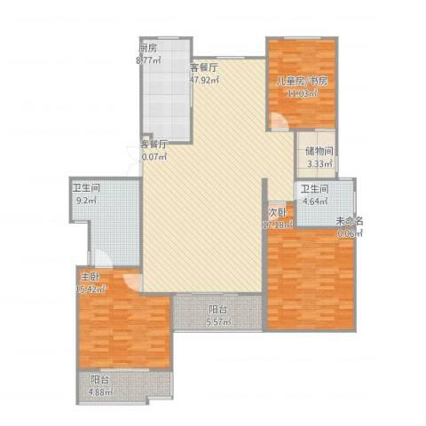 丽岛华都2室2厅2卫1厨172.00㎡户型图