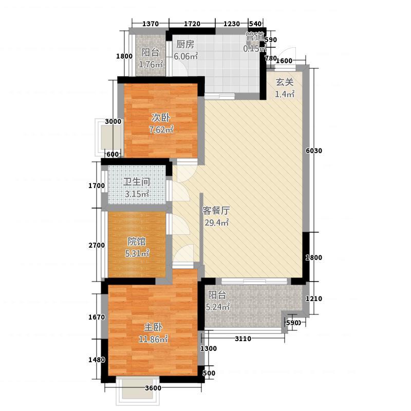 中交康桥34.15㎡二期3号楼标准层B5户型2室2厅1卫1厨