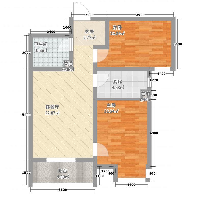 朝阳华府41.62㎡4号楼B户型2室2厅1卫1厨