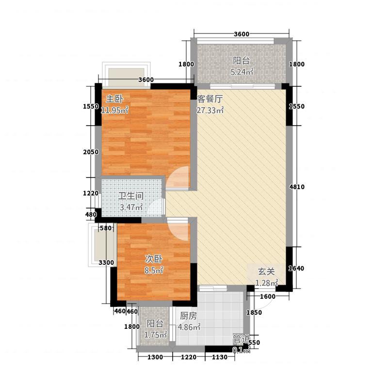 中交康桥683.76㎡一期6号楼标准层C1户型2室2厅1卫1厨
