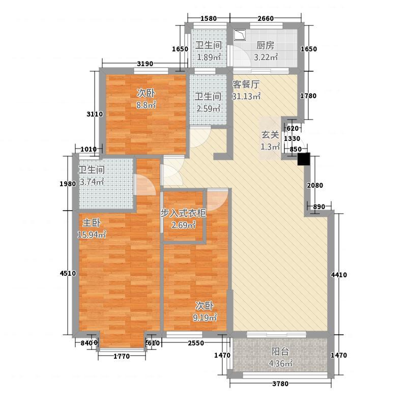 嘉和城232118.83㎡C2户型3室2厅2卫1厨