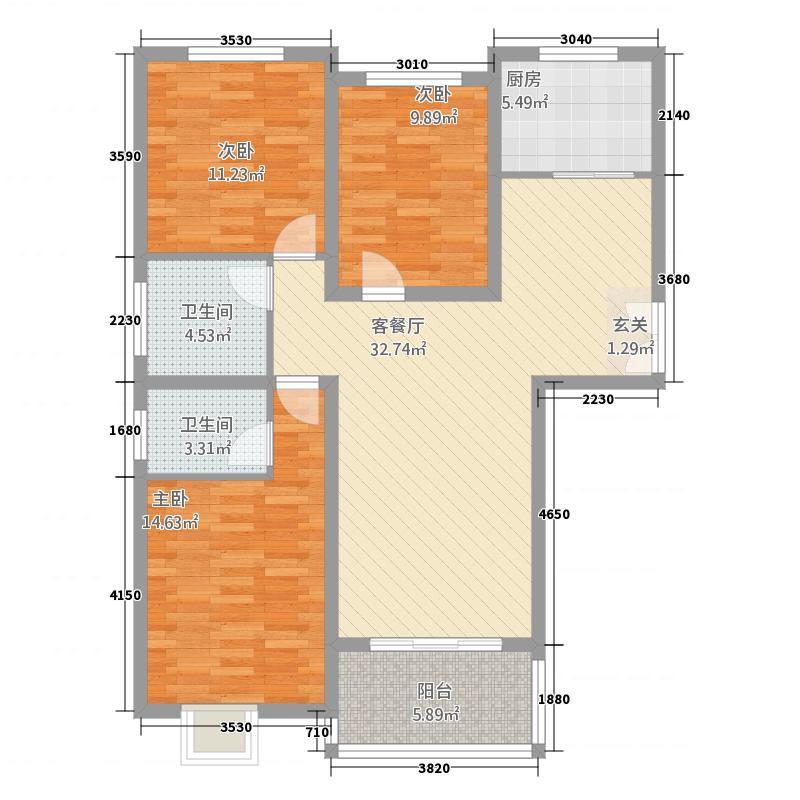 豫龙之春1125.22㎡一期A-1户型3室2厅2卫1厨
